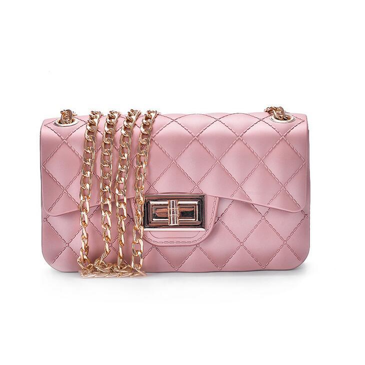 2017 Fashion New Female bag Retro Leisure Quality Handbags Pearl Lattice Chain Jelly bag Locked Shoulder Messenger Women Bag