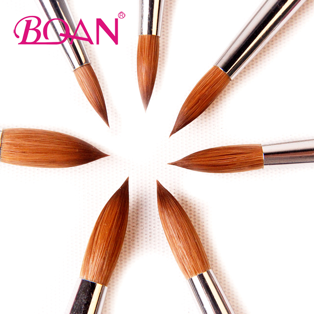 BQAN 10Pcs #16 Nail Art Brush Metal Handle with Diamond Kolinsky Hair Sable Brush Pink Crystal Acrylic Brush