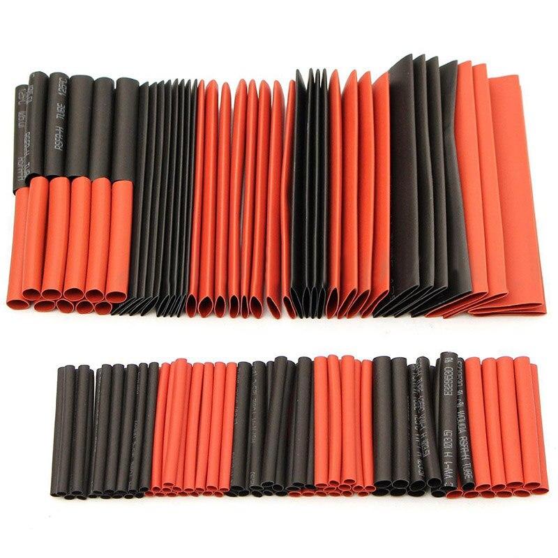 127/328/530 шт. термоусадочные трубки Ассорти Комплект электрические Обёрточная бумага провод термоусадочная трубка Кабельные муфты 2:1 полиолефина Многоцветный комплект - Цвет: 127PCS Black Red