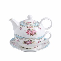 MALACASA 4 Piece Tea for one Set Portable Office Porcelain China Ceramic with Teapot,Cup and Saucer Personal Travel Tea Sets