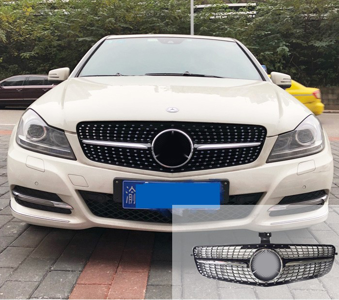 Diamond Front grille for Mercedes Benz C Class W204 grille C180 C200 C300 C250 C350 2008-2014 with emblem car styling led drl for mercedes benz w204 c class c180 c200 c250 c260 c300 2008 2010 led bumper daytime running lights daylight
