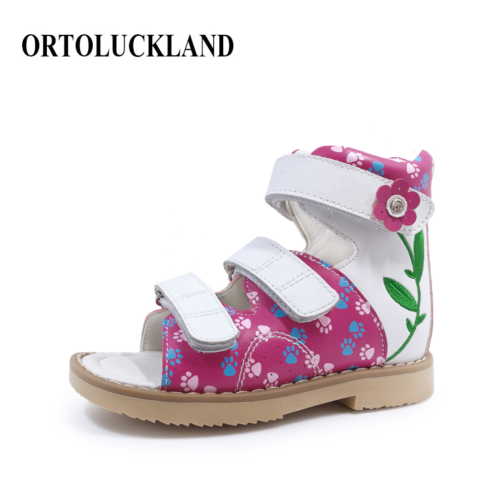 Ortoluckland new Kids Shoes child Leather Orthopedic Shoes Embroidered girls Sandal Waterproof Platform Children Ankle Shoes
