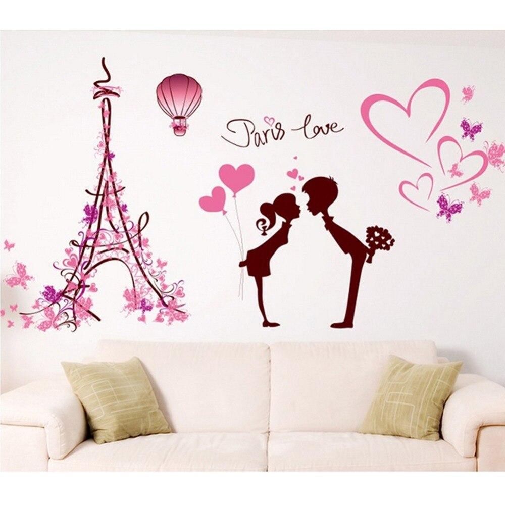 Jantung Bentuk Menara Eiffel Kekasih Butterflies Wall