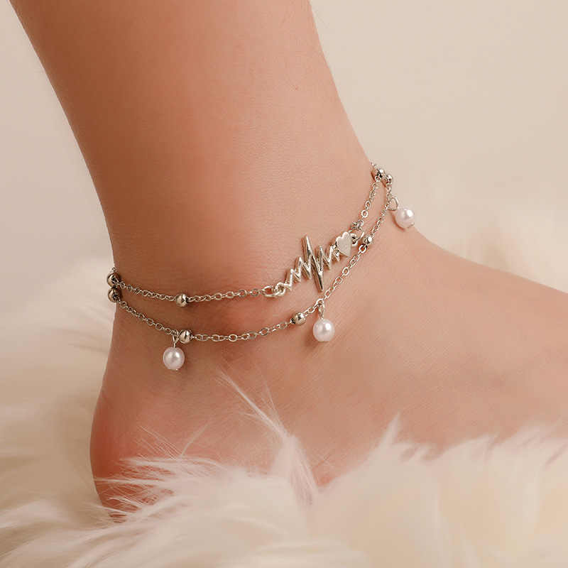 New Boho Double Layer Pearl Anklet Bracelet Two Piece ECG Personality Silver Anklets for Women Combination Fashion Set Footwear