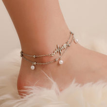 New Boho Double Layer Pearl Anklet Bracelet Two Piece ECG Personality Silver Anklets for Women Combination Fashion Set Footwear(China)