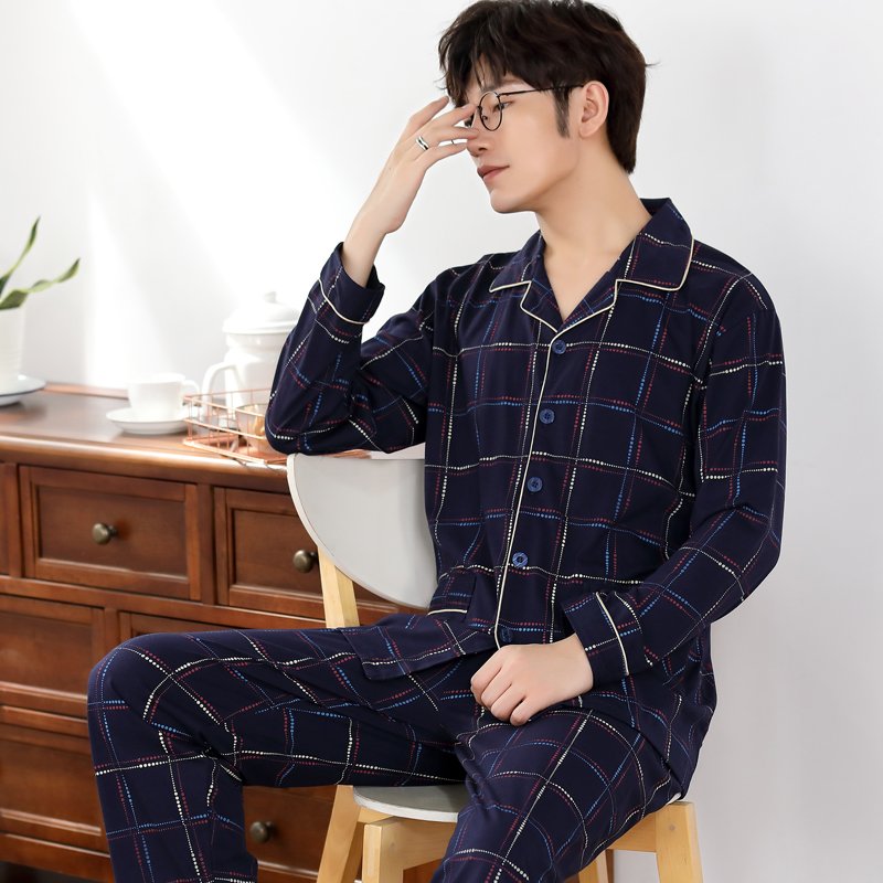 Dark Blue Pajamas Men Sleepwear 100% Cotton Men's Nightwear Long Sleeve Sleep Lounge Casual Male Nightgown Soft Pyjama Set 4XL