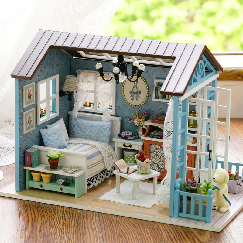 Doll House DIY Miniature Dollhouse Model Wooden Toy Furnitures Handmade house for dolls Toys Romantic Birthday Gift For Children Стол
