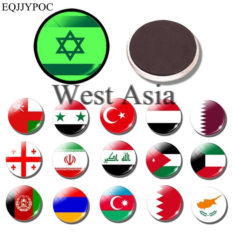 Imán luminoso para nevera de Asia occidental, recuerdo de países, imanes luminosos para nevera, Bandera de Turquía, Israel, Afganistán, Jordania, Armenia