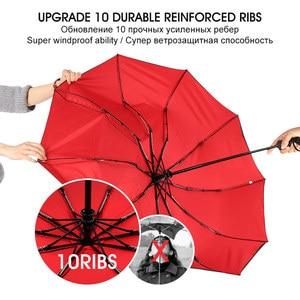 Image 4 - قوي يندبروف مزدوجة التلقائي 3 مظلة قابلة للطي الإناث الذكور 10K سيارة فاخرة كبيرة المظلة المطر النساء الرجال الأعمال المظلات