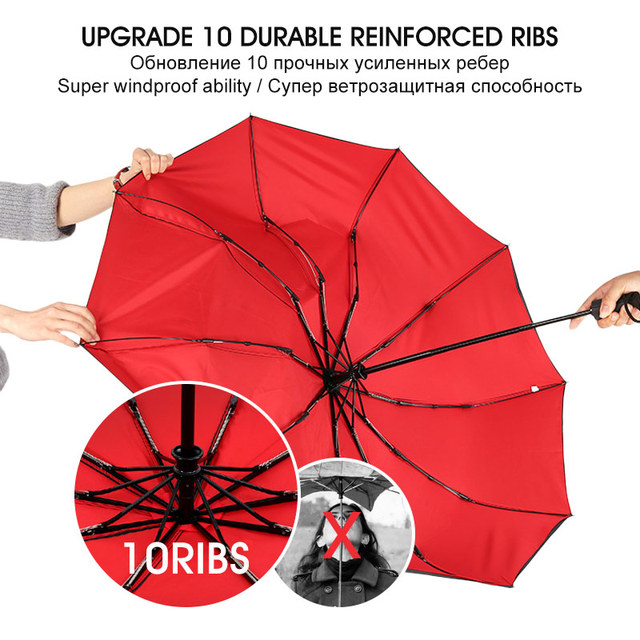 Windproof Double Automatic Folding Umbrella Female Male Ten Bone Car Luxury Large Business Umbrellas Men Rain Women Gift Parasol 3