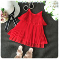 New 16 Concise Solid Color Leaf Edge Vest  Girl Cool  Refreshing Princess  Skirt Summer Day Sy Beach