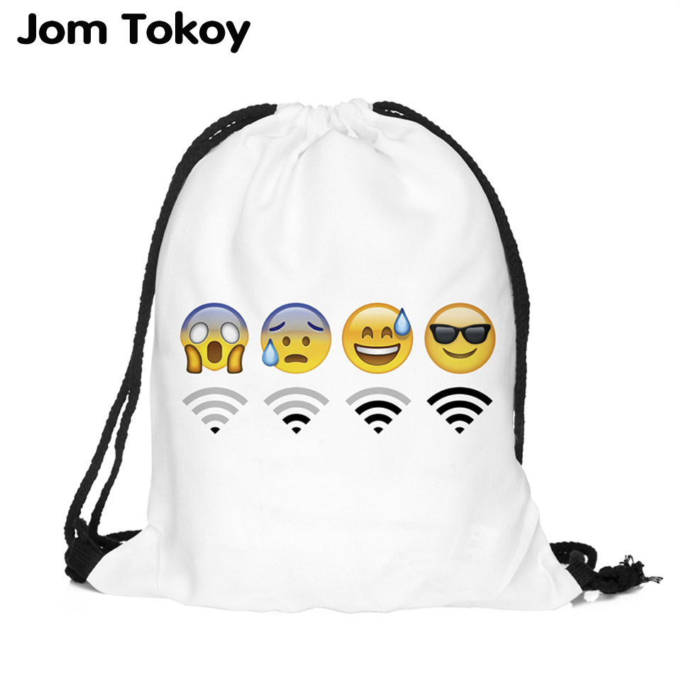 цены 2018 new fashion Women Backpack 3D printing travel softback women mochila drawstring bag Girls Backpack emoji wifi