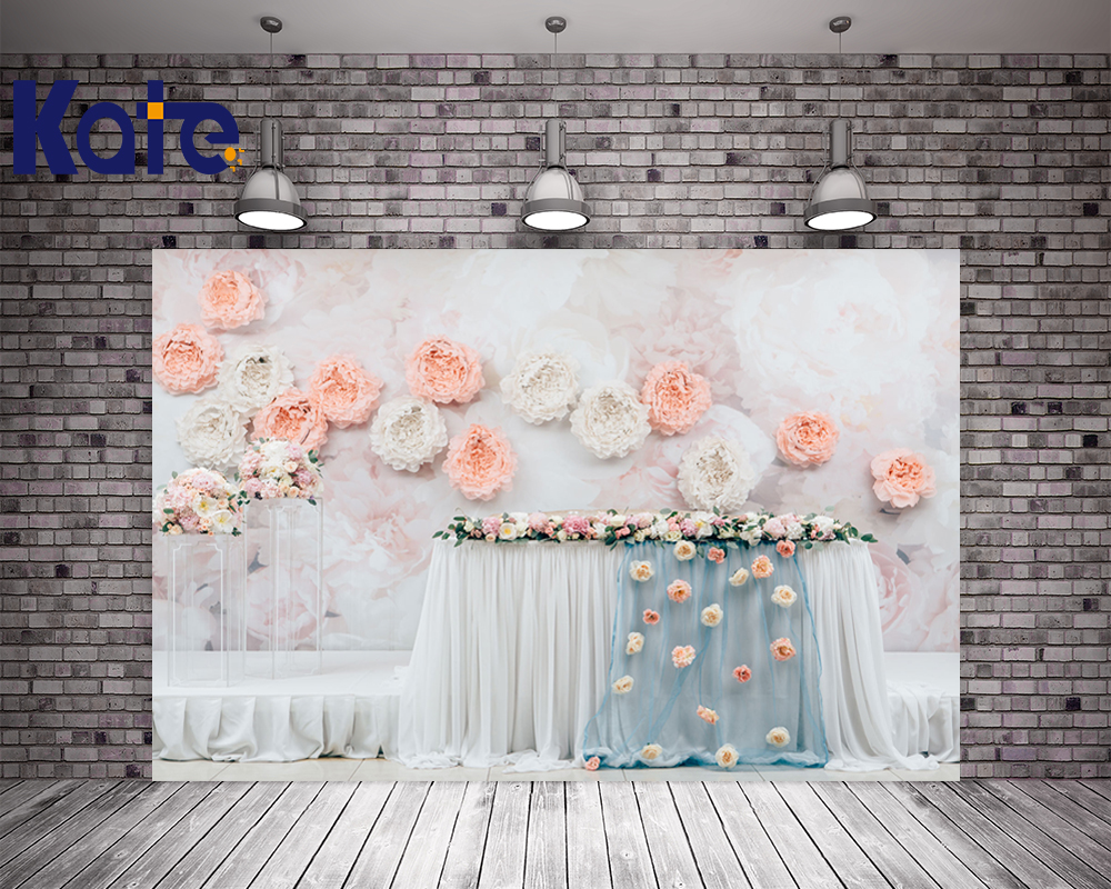 Kate 10x20ft Wedding Party Backgrounds For Photo Studio Pink Floower Paint By Number Microfiber Washable Studio Backdrop