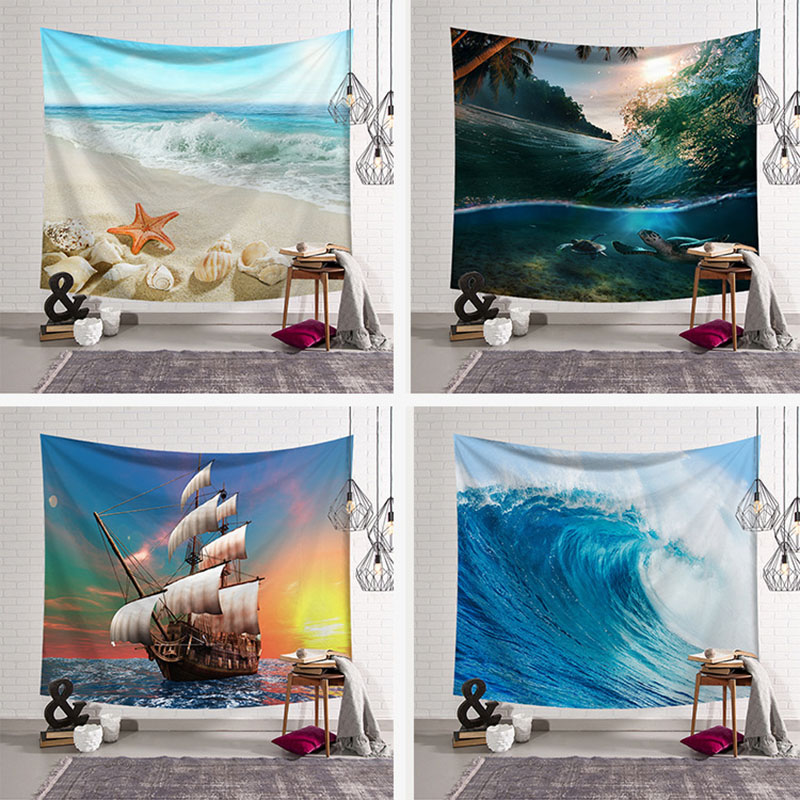 Tropical Plants Tapestry Palm Tree Sunset Wall Hanging Ocean Wave Picnic Home Decoration Ship Blanket Starfish Large Polyester