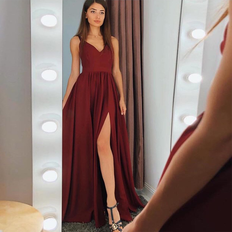 Simple V-neck Long   Prom     Dresses   A-line Burgundy Satin Elegant Special Occasion Women Formal Party Gowns Front Split   Prom   Gowns