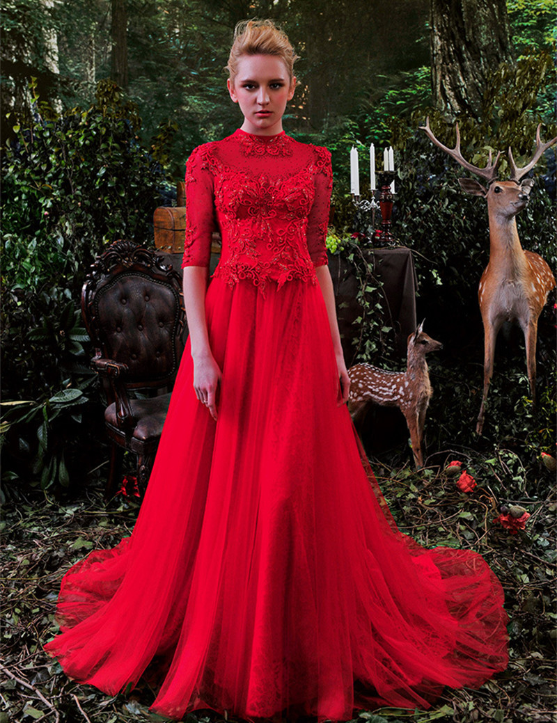 Aliexpress buy sexy red wedding gown high neck half sleeves aliexpress buy sexy red wedding gown high neck half sleeves shining crystal beaded organza lace wedding dresses red lace brial wedding gown from ombrellifo Choice Image