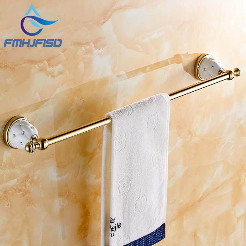 Gold Finish Brass Bathroom Towel Rack Holder With Diamond Ceramic Base W/ Hook Hangers Wall Mounted new bullet head bobbin holder with ceramic tube tip protecting lines brass copper material