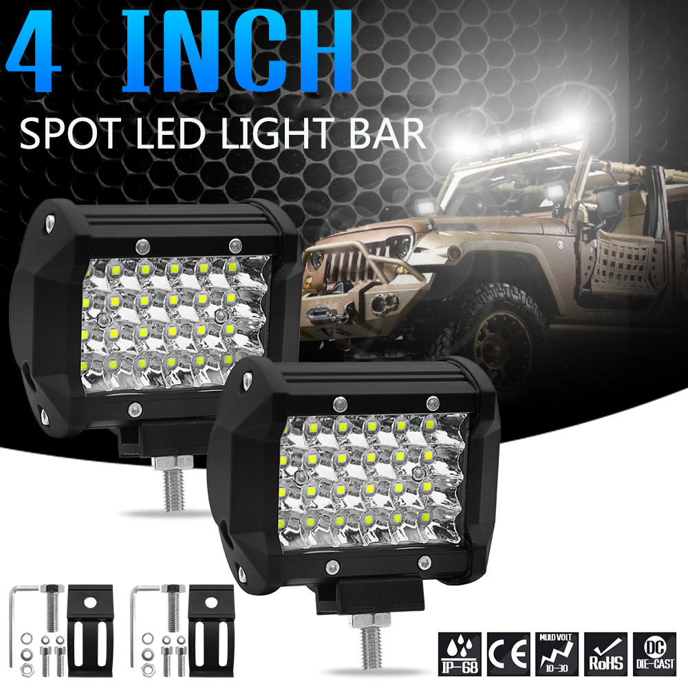 4-inch 4 Row 72W LED Strip Light Working Refit Off-road Vehicle Lamp Roof Strip Light image