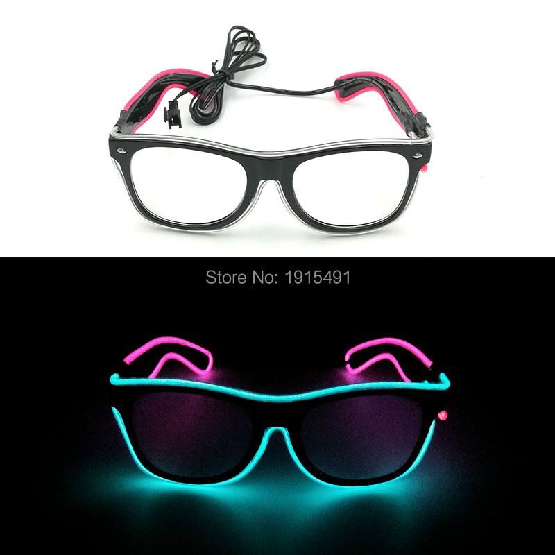 Cheap!Double Color Luminous Party Supplies EL wire Sun Glasses with Function of Steady on&Flashing Powered by 2-AA batteries