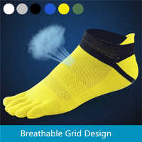 New Mens 5 Finger Five Toe Socks Socks Breathable Grid cotton socks free shipping