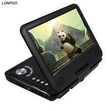 LONPOO 9 Pulgadas reproductor de DVD portátil con función de juego de apoyo de pantalla giratoria reproductor de CD MP3/MP4 reproductor de dvd para coche a casa