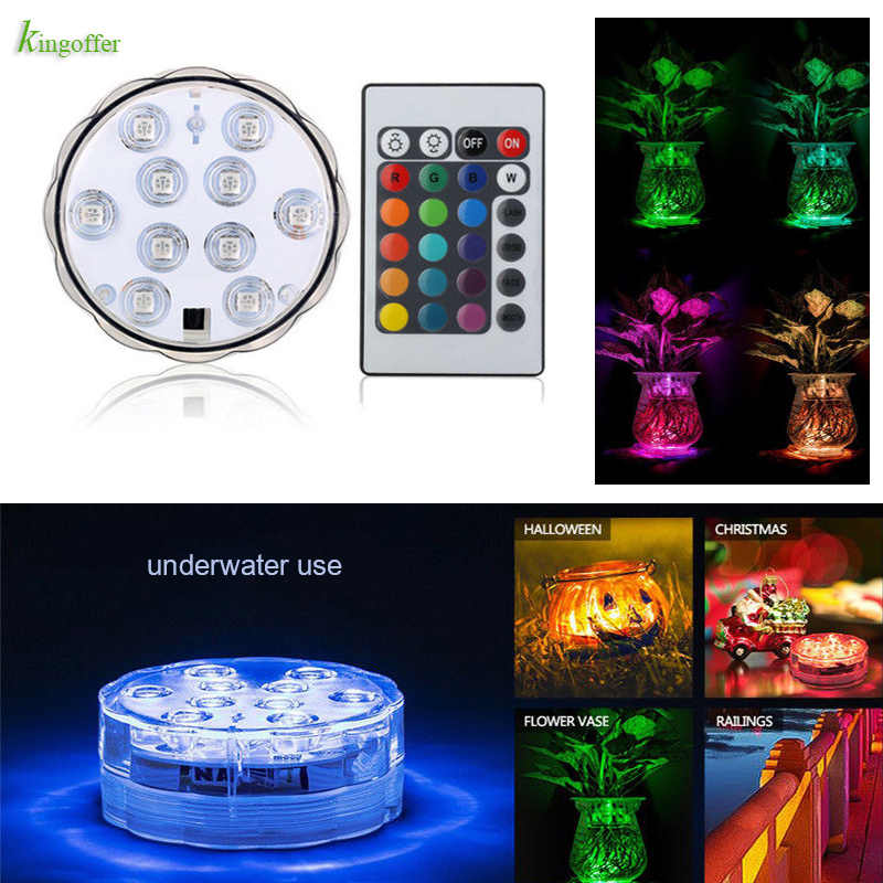 10Leds Remote Controlled RGB Submersible Led Light Battery Underwater Night Lamp Vase Bowl Outdoor Garden Party Waterproof Decor
