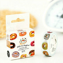 1 caja/Rollos Delicious donut Food Pattern Washi Tape cinta adhesiva decorativa Decora Diy Scrapbooking Sticker artículos de papelería con etiquetas(China)