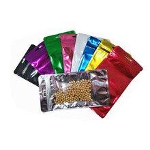 50PCS 12x22cm Clear Plastic Colorful Aluminum Foil Bag Zip Lock Mylar Foil Bags Hang Hole Electronic Accessories Storage Pouches