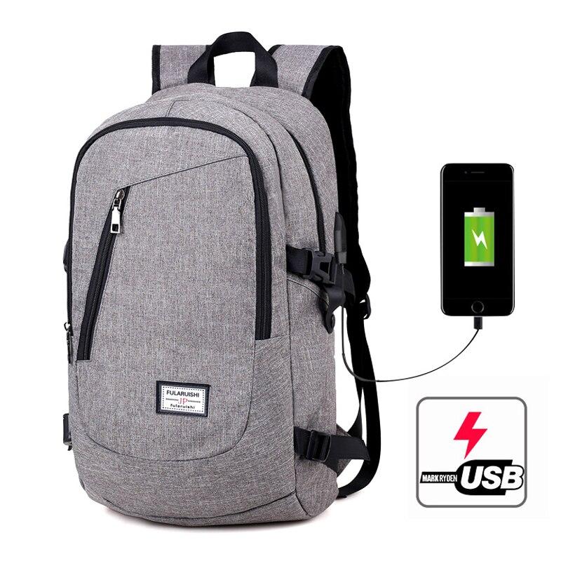 2018 New 15.6 Inch Men Backpack USB Charging Laptop Backpacks Whit Headphone Plug Casual Shoulder Travel Bags mochila school