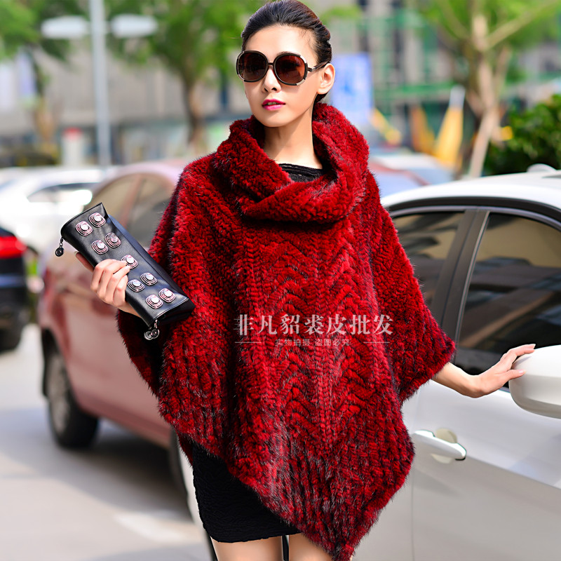 Real mink fur cloak cape women mink thickening knitted pullover marten fur coat overcoat mink fur
