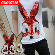GUGUTREE embroidery Sequins big rabbit patches animal cartoon patches badges applique patches for clothing XC-500 чемодан l case bangkok black 26 l 31 47 72