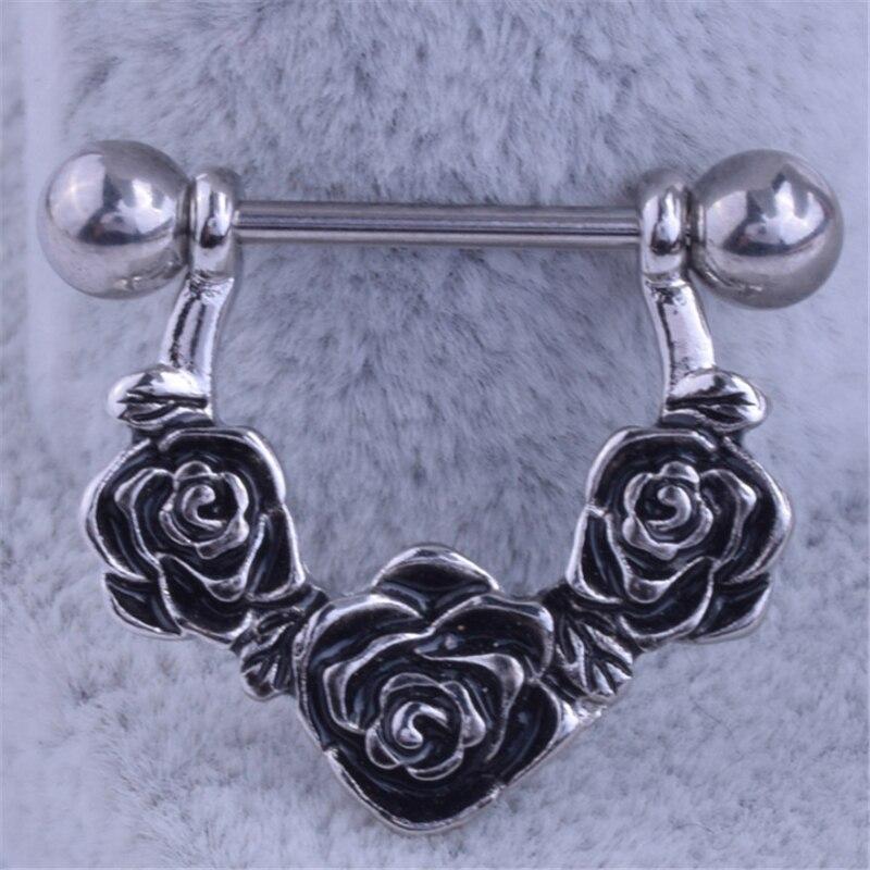 2PCS New Arrival Dangle Nipple Rings Rose Flowers Stainless Steel Women Retro Bar Barbell Piercing Nipple Rings Body Jewelry