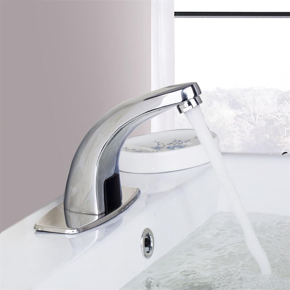 Polished Chrome Waterfall Bathroom Sense Water Taps Brass Automatic Basin Sensor Faucets Hand Washer sense and sensibility