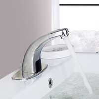 Polished Chrome Waterfall Bathroom Sense Water Taps Brass Automatic Basin Sensor Faucets Hand Washer