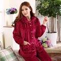2016 Primavera Inverno Anti Frio Manter As Mulheres Quentes de Espessura Coral Conjuntos de Pijama de lã de Flanela Sleepcoat & Senhora Calças Térmicas Sleepwear