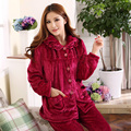 2016 Spring Winter Anti Cold Keep Warm Women Thick Coral Fleece Pajamas Sets of Sleepcoat & Pants Lady Thermal Flannel Sleepwear