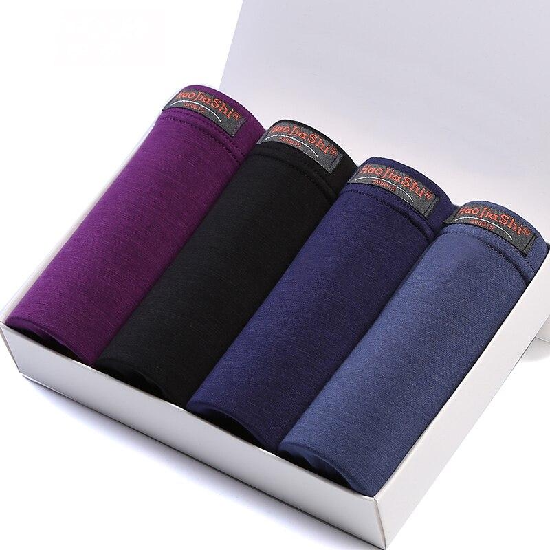 Hot Sale Special Offer 2017 Panties Mens 4pcslot Underwear Boxers Modal Boxer Men Solid Shorts Plus Size Lot L-5XL