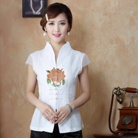 National Trends Women S Satin Flower Shirt Traditional Chinese Embroidery Blouse Tops Feminina Camisa Plus Size