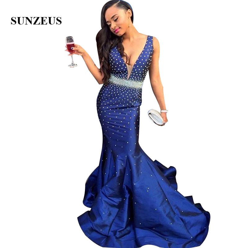 Pearls Beaded   Prom     Dress   Sleeveless V-neck Mermaid Party Gowns Long Royal Blue Taffeta Women   Dress   For   Prom