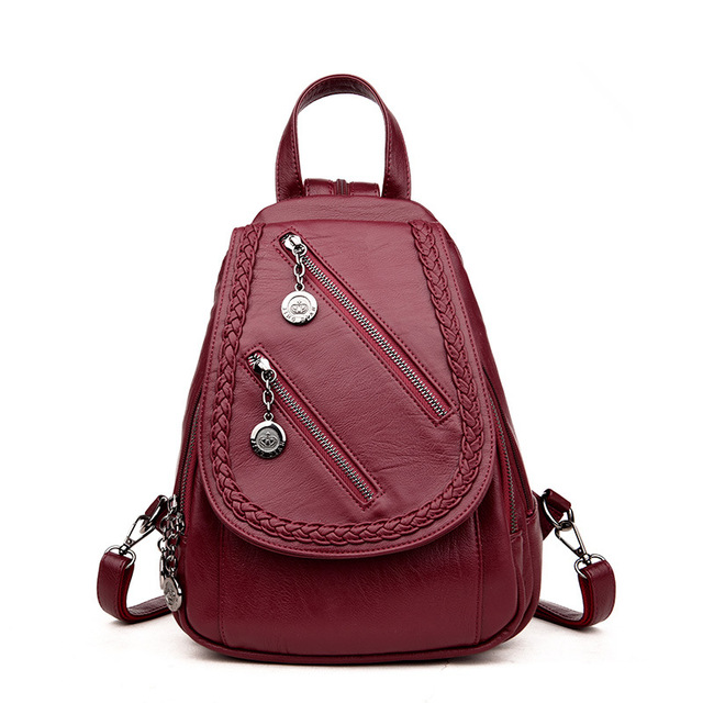 d082d48a31 Designer Fashion Women Backpack Leather Preppy Style School Bags for  Teenager Girls Shoulder Bags Female Small