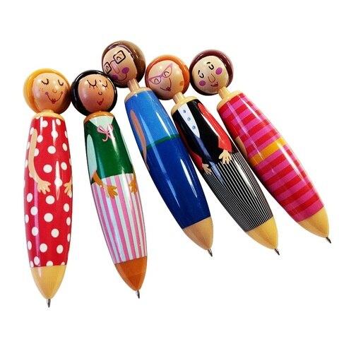 20 pcs lote 3d boneca kawaii canetas esferograficas caneta para criancas criancas estudantes da escola