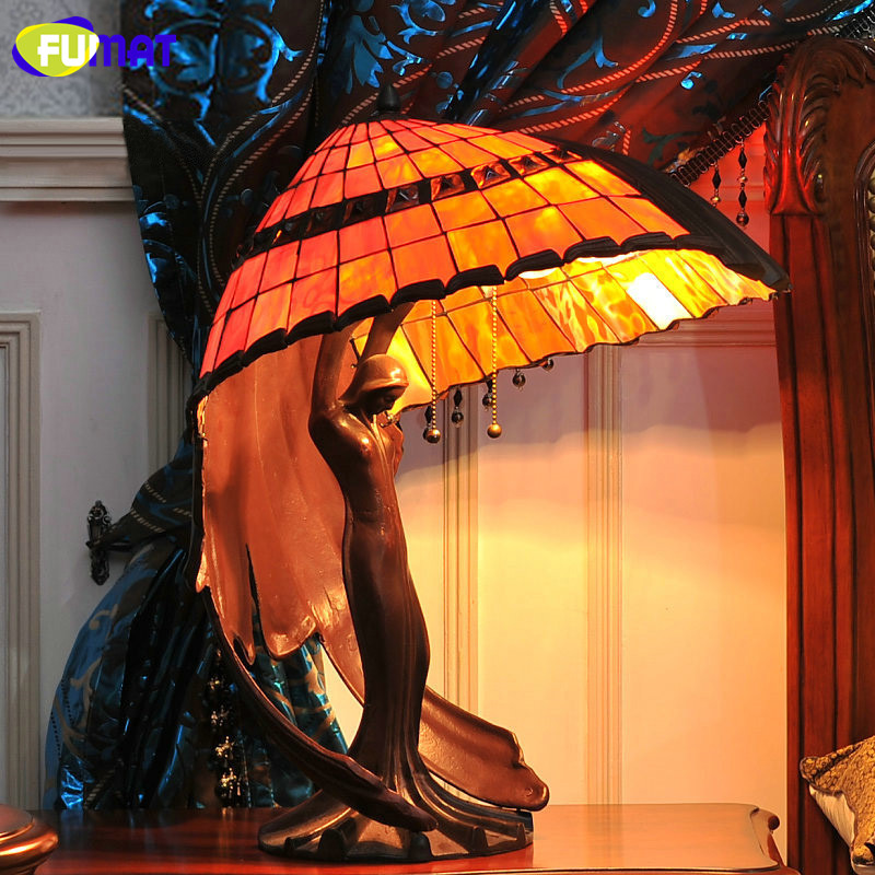 FUMAT Stained Glass Table Lamp High Quality Goddess Lamp Art Collect Home Docor LED Table Lamp Living Room Bedside Table Lights fumat stained glass pendant lamps european style glass lamp for living room dining room baroque glass art pendant lights led
