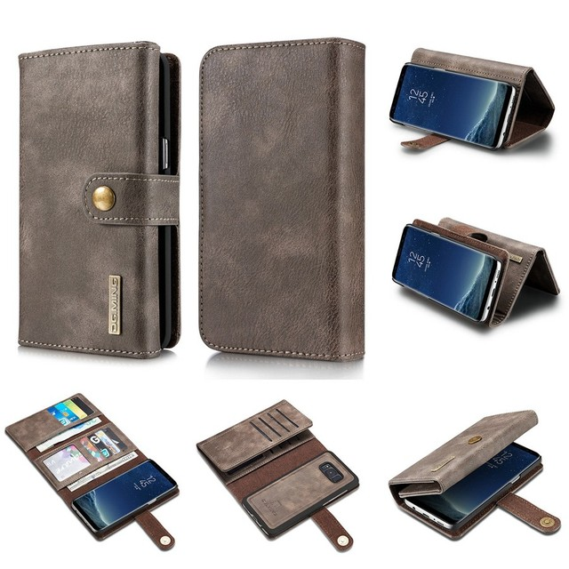 the best attitude c12a5 917ae US $8.66 |3 Fold Wallet, 2 in 1 Case for Samsung Galaxy S8 Plus Removable  Back Cover Genuine Leather &PU + Screen Protector for Galaxy S8+-in Wallet  ...