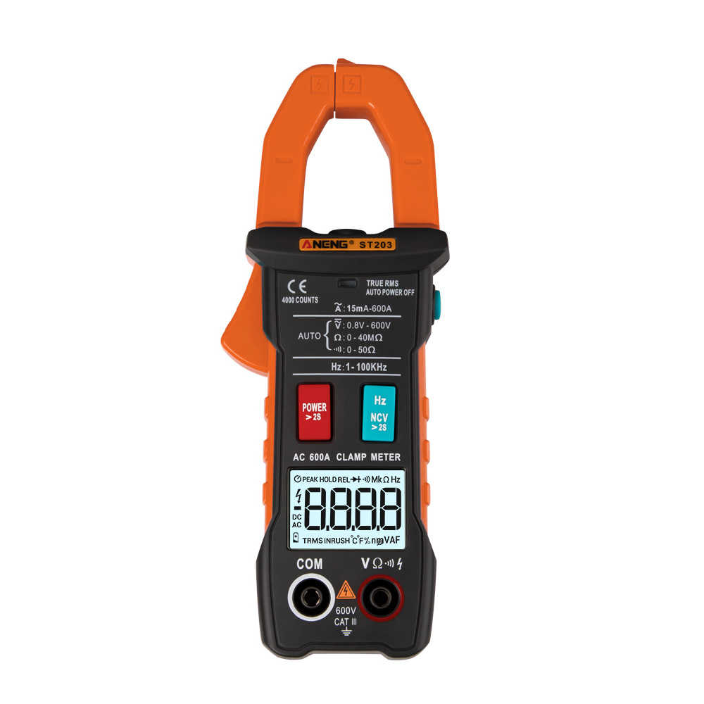 True RMS Digital Clamp Meter DC AC Current Voltage Ampere NCV Ohm Tester Ammeter Multimeter Electrician Tool