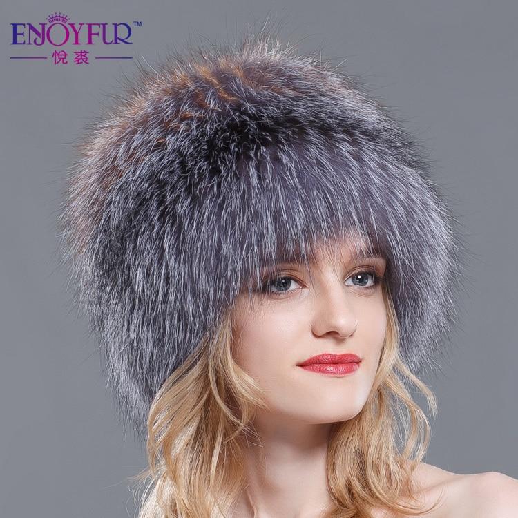 Femmes d'hiver chapeaux de fourrure véritable fourrure de renard tricoté bonnets 2018 new hot Russe style super élastique haute qualité de luxe femelle caps