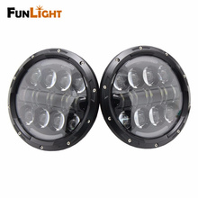 Funlight 7 Inch Round 80W LED Headlights High Low Beam With Halo Angle Eye And Amber Turn Signal For Jeep Wrangler Jk Headlamp