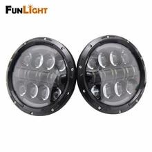 Funlight 7 Pulgadas Ronda 80 W LED Faros de luz de Cruce de Alta Con Ángulo de Los Ojos de Halo Y Ámbar Señal de Vuelta Para Jeep Wrangler Jk faro