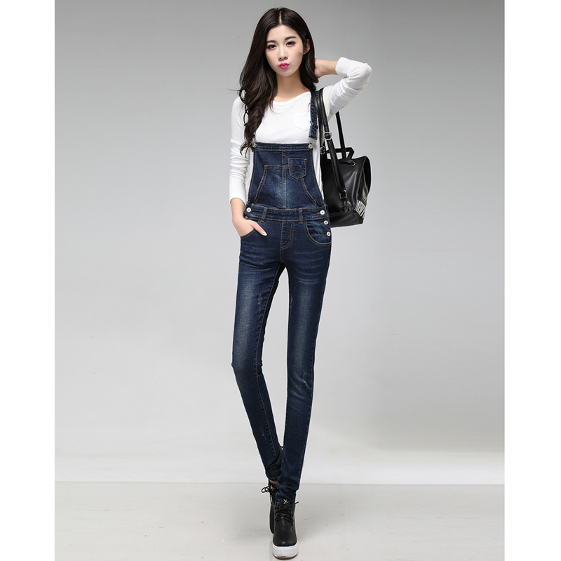 New Arrival Women Blue Denim Overall Multi Pocket Suspender Trousers Sweet Jeans Jumpsuits for Girls women girls casual vintage wash straight leg denim overall suspender jean trousers pants dark blue