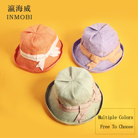 e2af1dc7e992c0 2019 Fashion Bow Knot Plain Bucket Hat For Women S Summer Sun Fisherman Hat  Beach Visor