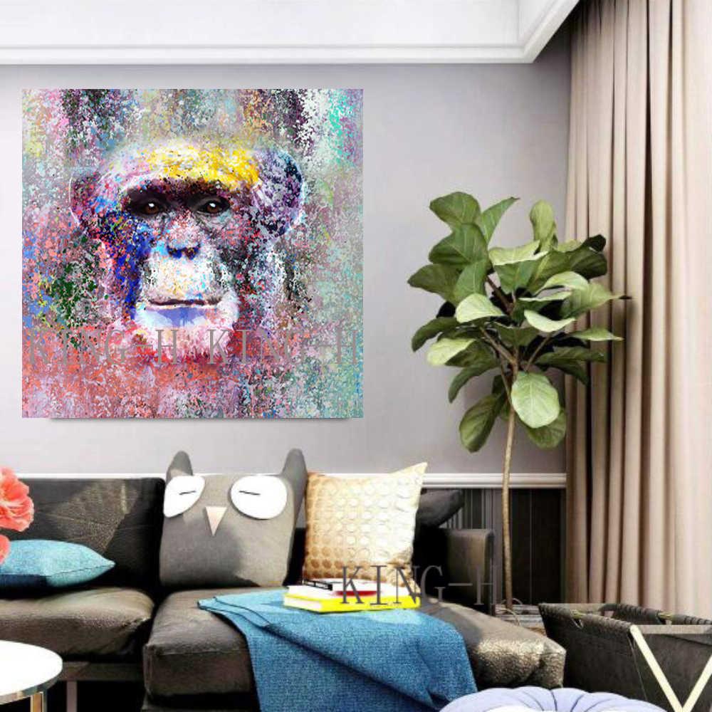 Nuevas fotos pintadas a mano pintura al óleo animales moderno negro y rojo mono sofá de humo decorar sala de niños